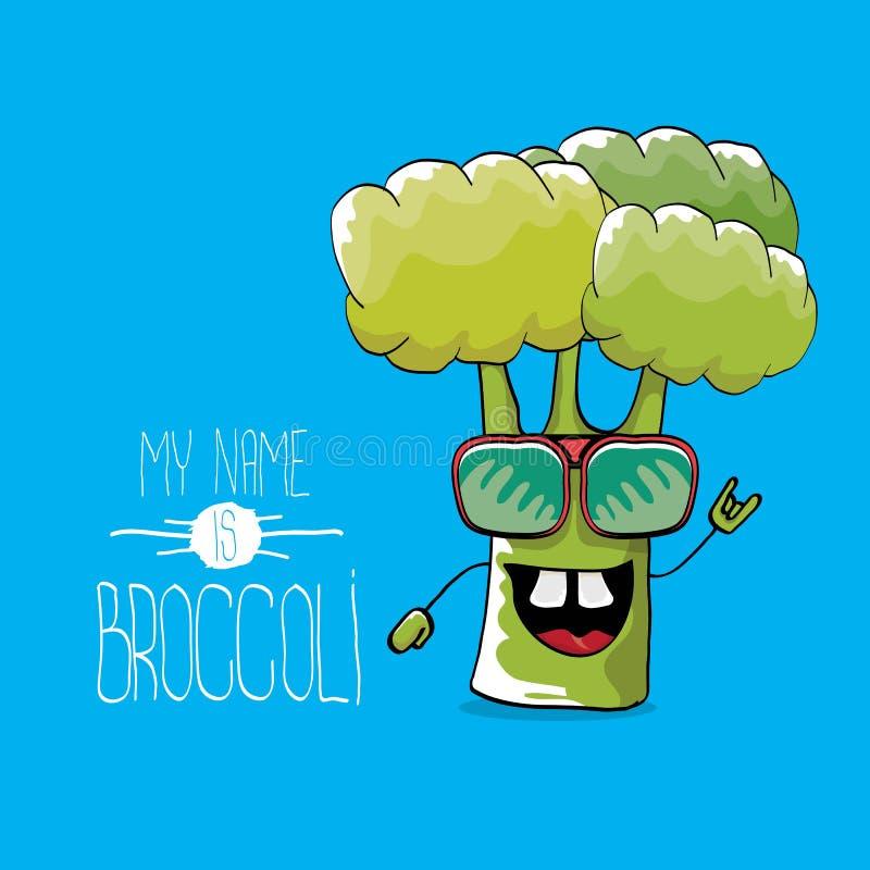 Tecken f?r broccoli f?r rolig tecknad film f?r vektor gulligt gr?nt vektor illustrationer