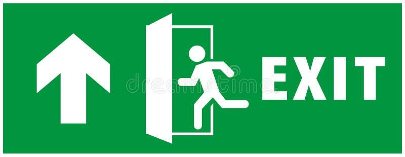 Tecken f?r n?d- utg?ng körande mansymbol till dörren Gr?n f?rg Pilvektor platta för varnande tecken vektor illustrationer