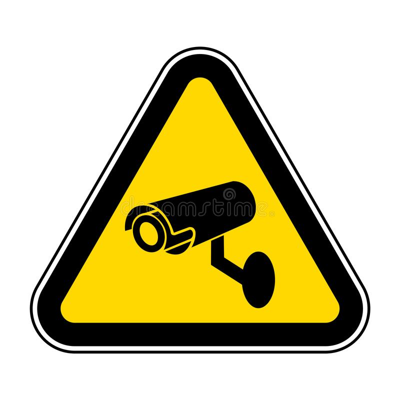 Tecken f?r symbol f?r CCTV-s?kerhetskamera, vektorillustration, isolat p? den vita bakgrundsetiketten EPS10 vektor illustrationer