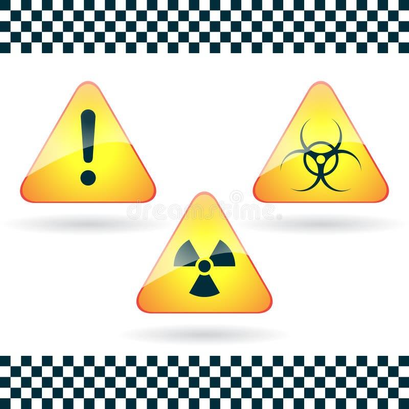 Tecken-fara biohazard, radioaktiv fara. stock illustrationer