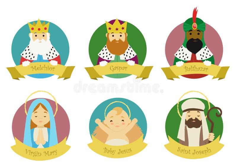 Tecken från den isolerade julkrubban royaltyfri illustrationer