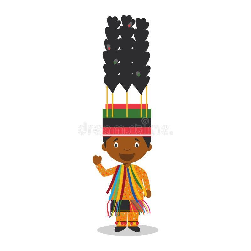 Tecken från helgonet iklädda Kitts och Nevis den traditionella vägen för karneval stock illustrationer