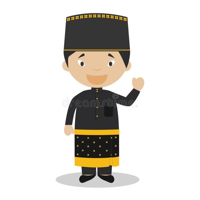 Tecken från iklädda Brunei den traditionella vägen royaltyfri illustrationer