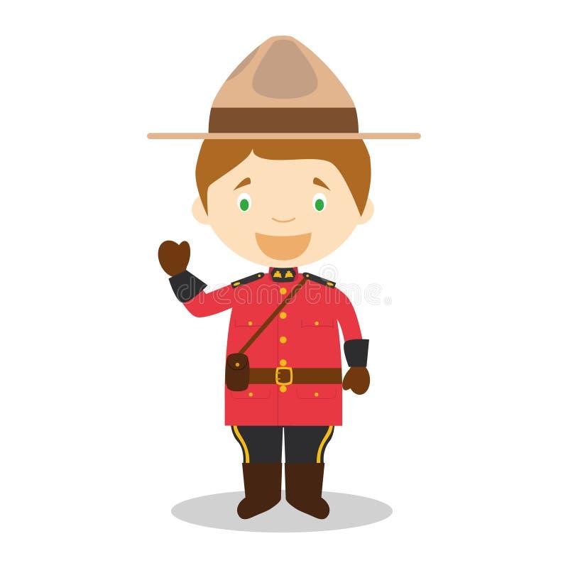 Tecken från Kanada som är iklädd den traditionella vägen som en monterad polis stock illustrationer