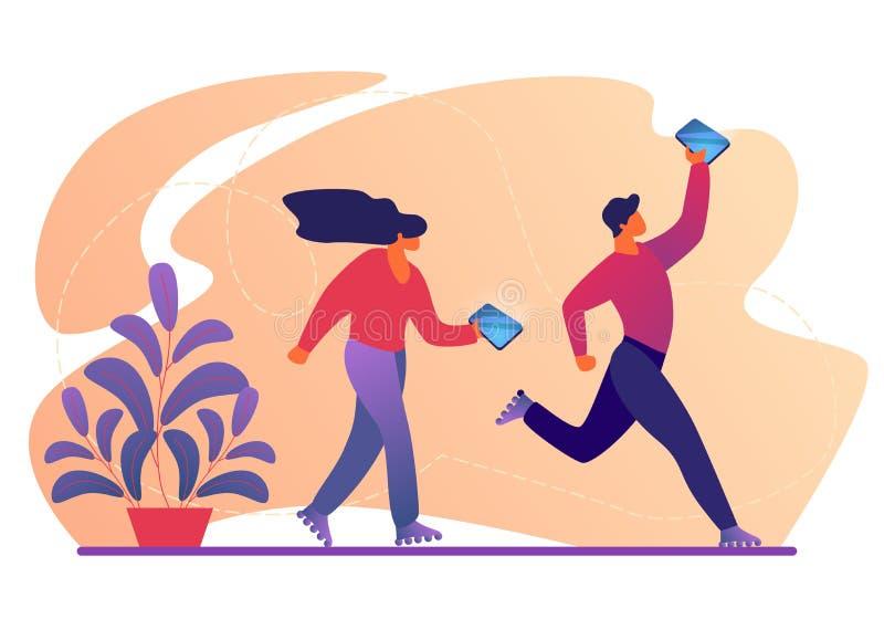 Tecken går på rullskridskor med Smartphones royaltyfri illustrationer