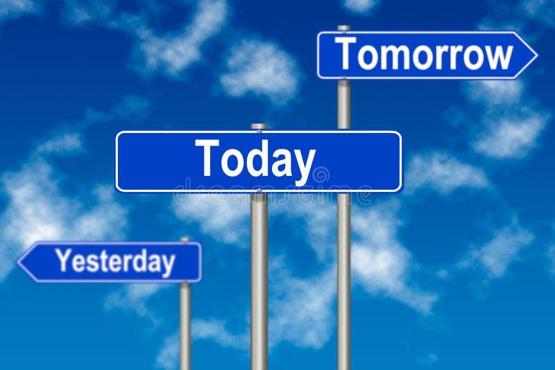 tecken i dag i morgon igår royaltyfri illustrationer