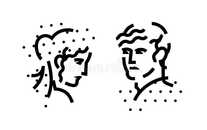 Tecken, logoen av mannen och kvinnliga huvud En linjär symbol av en man och en kvinna Plan illustration för vektor abstrakt bild royaltyfri illustrationer