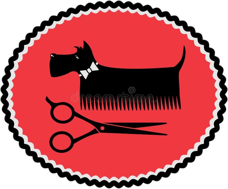 Tecken med att ansa hunden och sax
