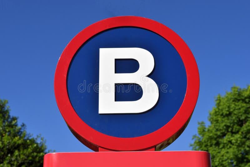 Tecken med bokstaven B royaltyfri foto