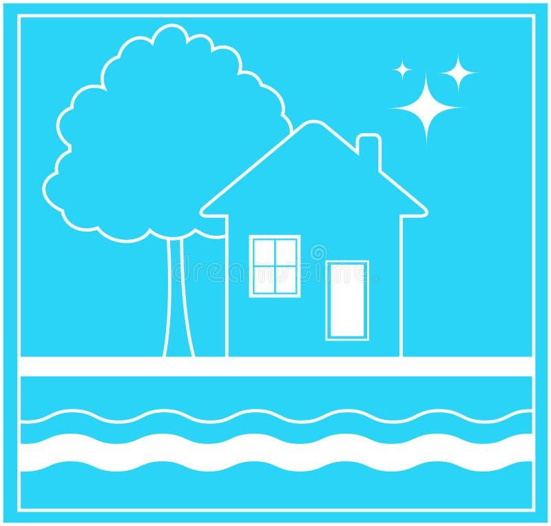 Tecken med hus- och vattenströmmen stock illustrationer