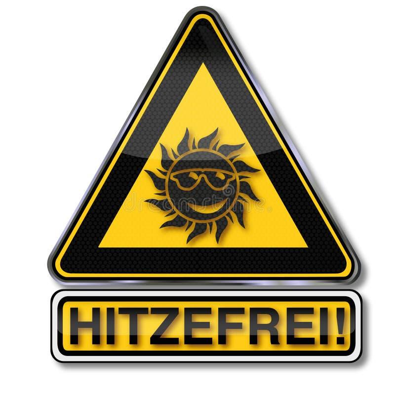 Tecken med solen och fri värme vektor illustrationer