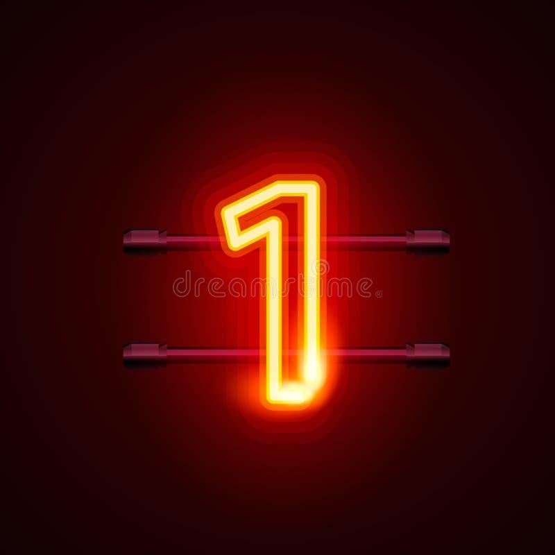 Tecken nummer 1, skylt en för neonstadsstilsort stock illustrationer