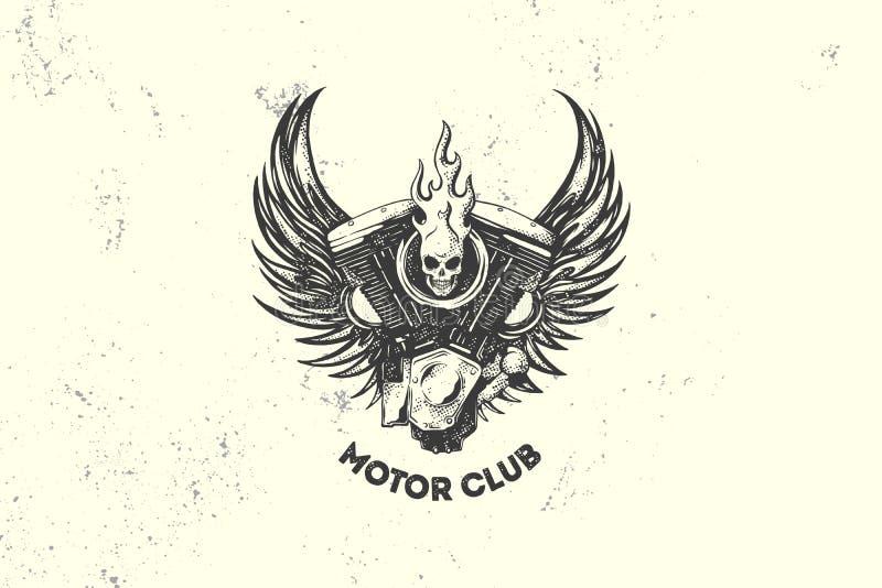 Tecken och etikett för tappningmotorklubba med motorn, skallen och vingar Emblem av cyklister och ryttare royaltyfri illustrationer