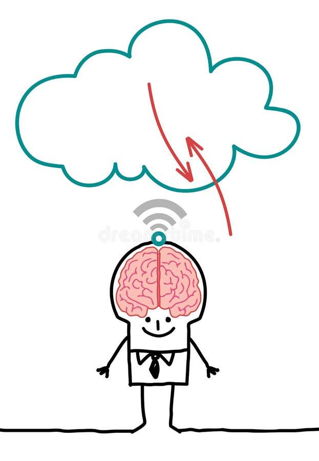 Tecken och moln - stor hjärna royaltyfri illustrationer