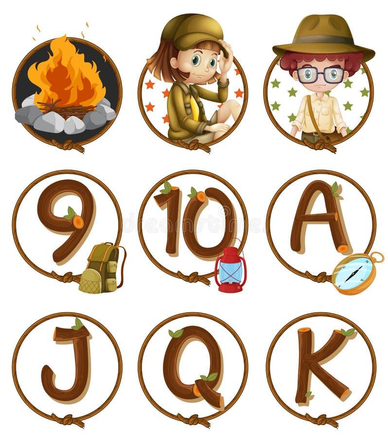 Download Tecken Och Nummer På Runda Emblem Vektor Illustrationer - Illustration av campfire, emblem: 78731927