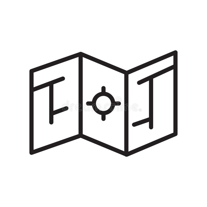 Tecken och symbol för översiktssymbolsvektor som isoleras på vit bakgrund, översiktslogobegrepp, översiktssymbol, linjärt tecken stock illustrationer