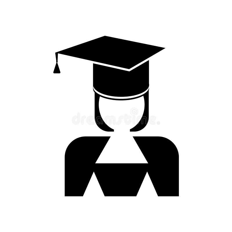Tecken och symbol för akademikermössasymbolsvektor som isoleras på vit bakgrund, akademikermössalogobegrepp vektor illustrationer