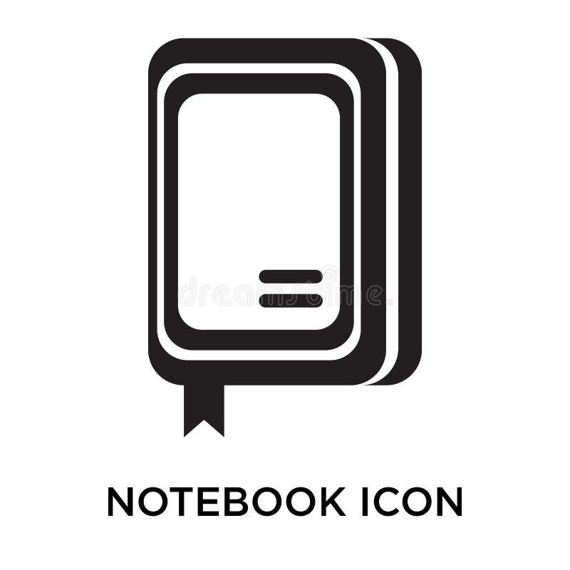 Tecken och symbol för anteckningsboksymbolsvektor som isoleras på vit backgroun stock illustrationer