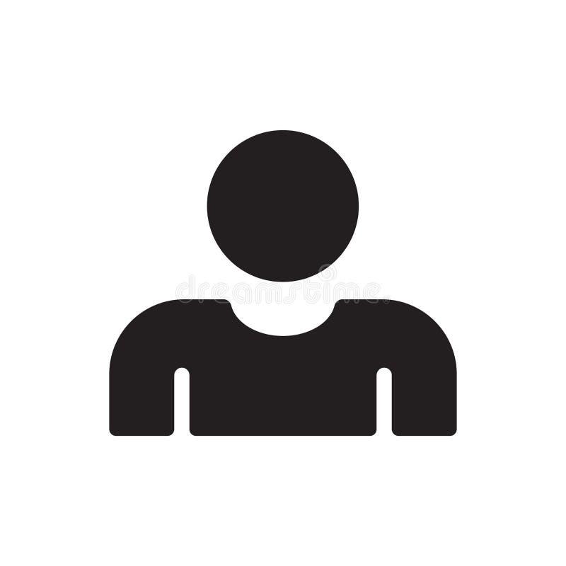 Tecken och symbol för användaresymbolsvektor som isoleras på vit bakgrund, användarelogobegrepp stock illustrationer