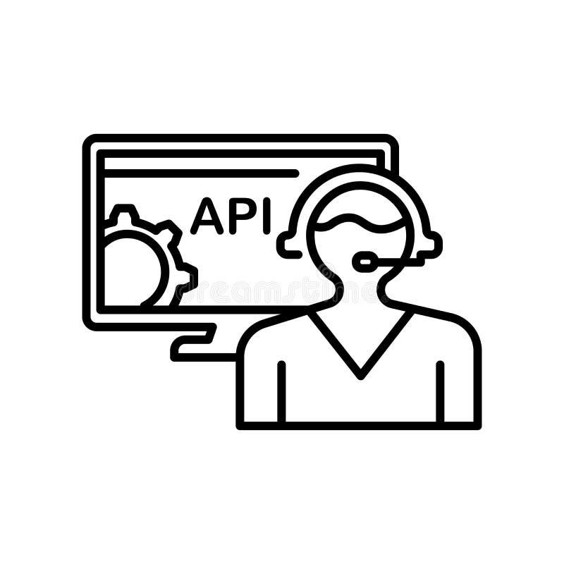 Tecken och symbol för Api-symbolsvektor som isoleras på vit bakgrund, Api-logobegrepp stock illustrationer