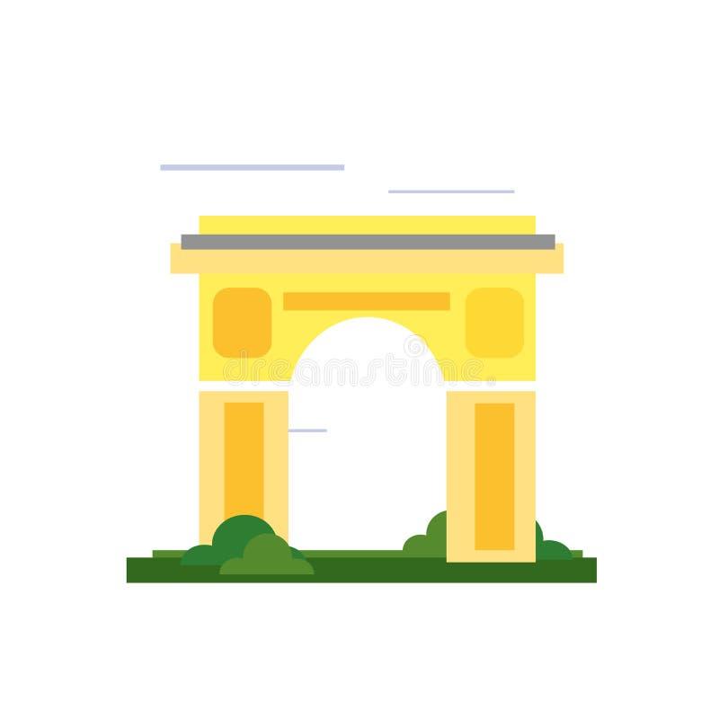 Tecken och symbol för Arc de Triomphe symbolsvektor som isoleras på vita lodisar vektor illustrationer