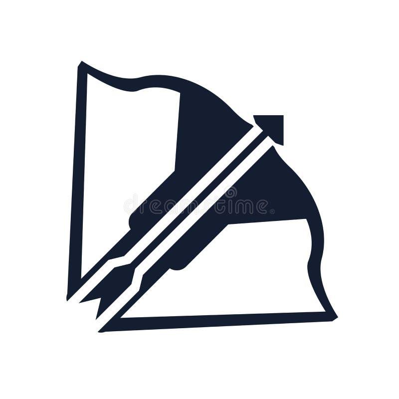 Tecken och symbol för armborstsymbolsvektor som isoleras på vit bakgrund, armborstlogobegrepp royaltyfri illustrationer