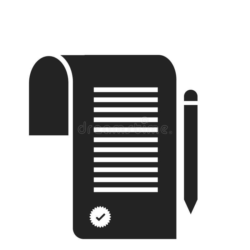 Tecken och symbol för avtalssymbolsvektor som isoleras på vit bakgrund, avtalslogobegrepp royaltyfri illustrationer