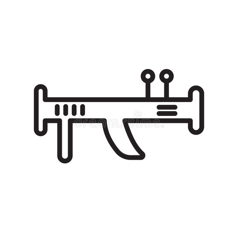 Tecken och symbol för bazookasymbolsvektor som isoleras på vit bakgrund, bazookalogobegrepp, översiktssymbol, linjärt tecken royaltyfri illustrationer