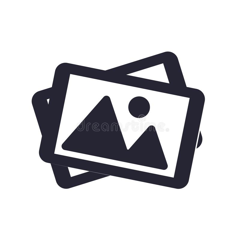 Tecken och symbol för bildsymbolsvektor som isoleras på vit bakgrund, bildlogobegrepp stock illustrationer