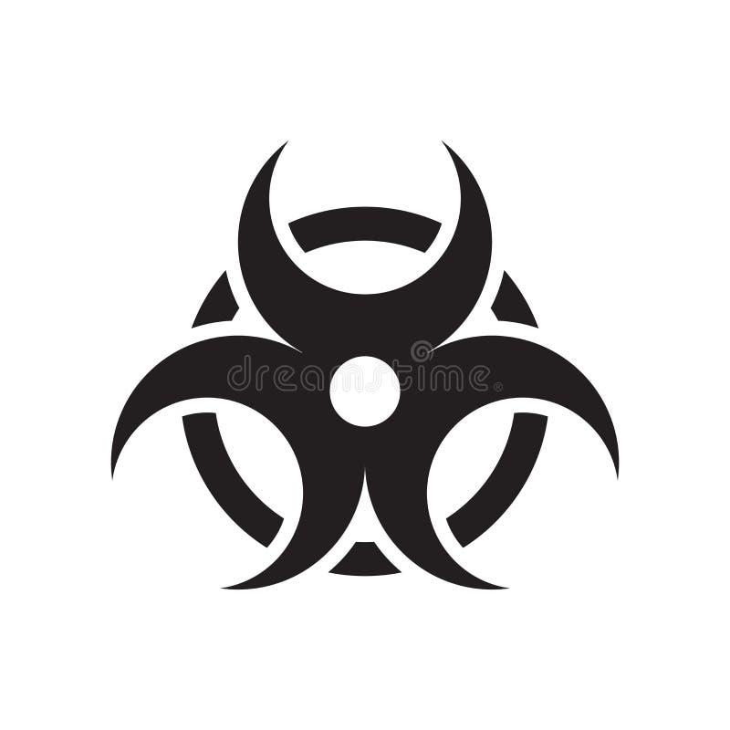 Tecken och symbol för Biohazardsymbolsvektor som isoleras på den vita backgrouen vektor illustrationer