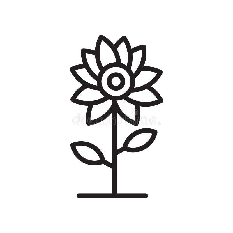 Tecken och symbol för blommasymbolsvektor som isoleras på vit bakgrund, blommalogobegrepp, översiktssymbol, linjärt tecken, övers stock illustrationer