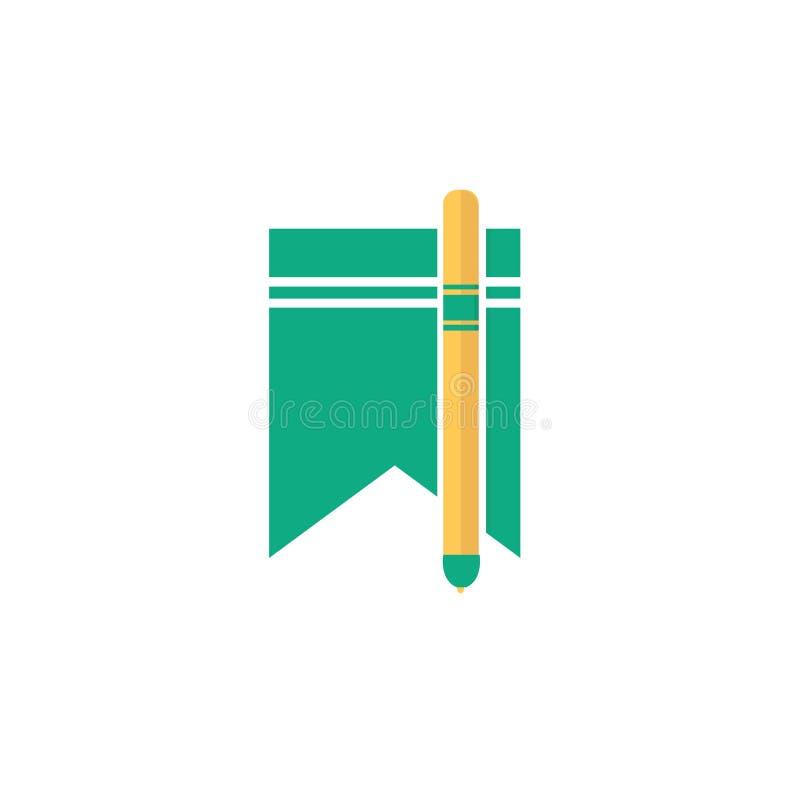 Tecken och symbol för bokmärkesymbolsvektor som isoleras på vit backgroun stock illustrationer