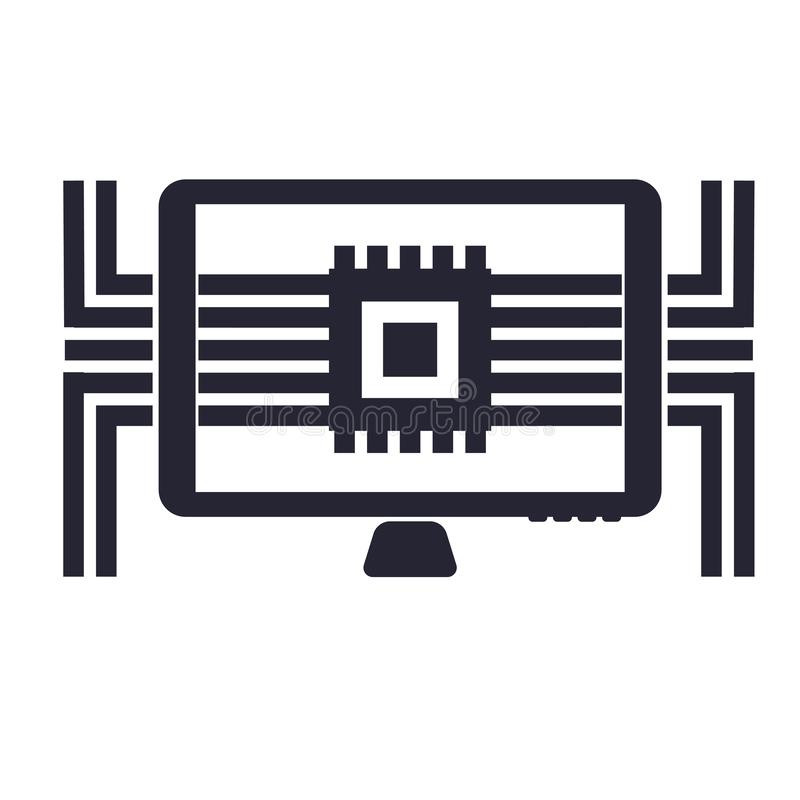 Tecken och symbol för datorsymbolsvektor som isoleras på vit bakgrund, datorlogobegrepp vektor illustrationer