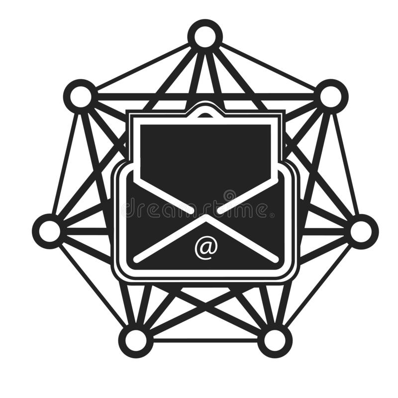 Tecken och symbol för Emailsymbolsvektor som isoleras på vit bakgrund, Emaillogobegrepp stock illustrationer