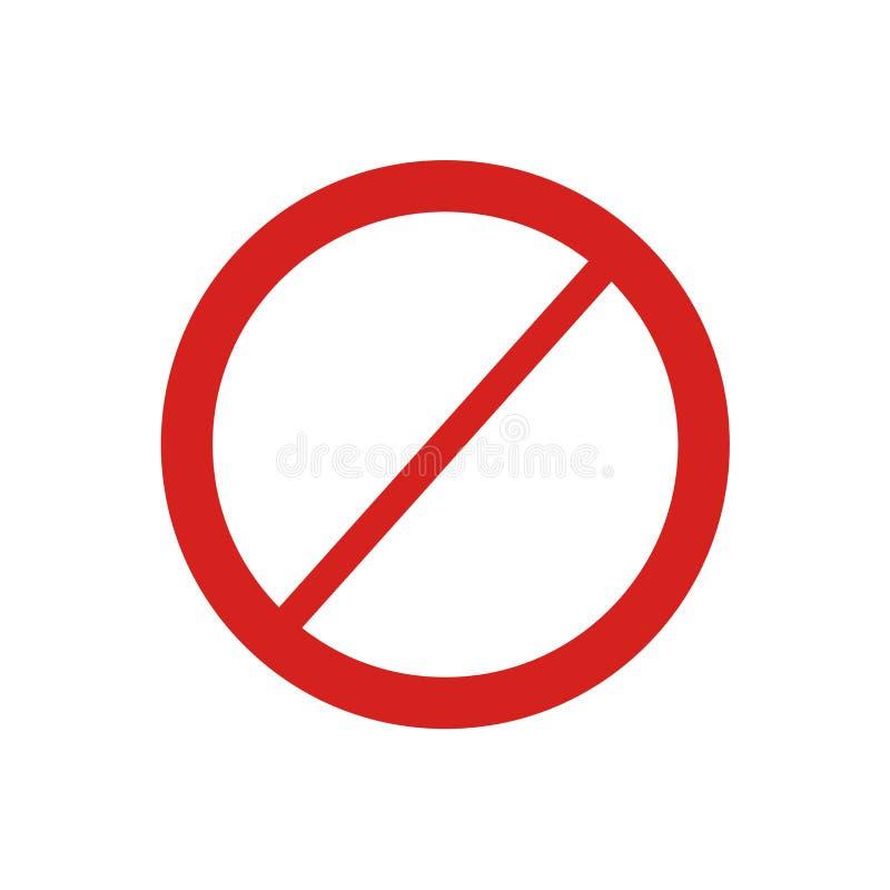 Tecken och symbol för förbudsymbolsvektor som isoleras på vit bakgrund, förbudlogobegrepp stock illustrationer