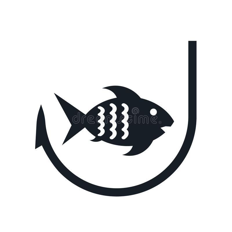 Tecken och symbol för fiskesymbolsvektor som isoleras på vit bakgrund, fiskelogobegrepp stock illustrationer