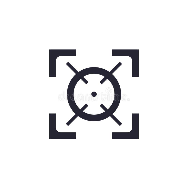 Tecken och symbol för fokussymbolsvektor som isoleras på vit bakgrund, fokuslogobegrepp stock illustrationer