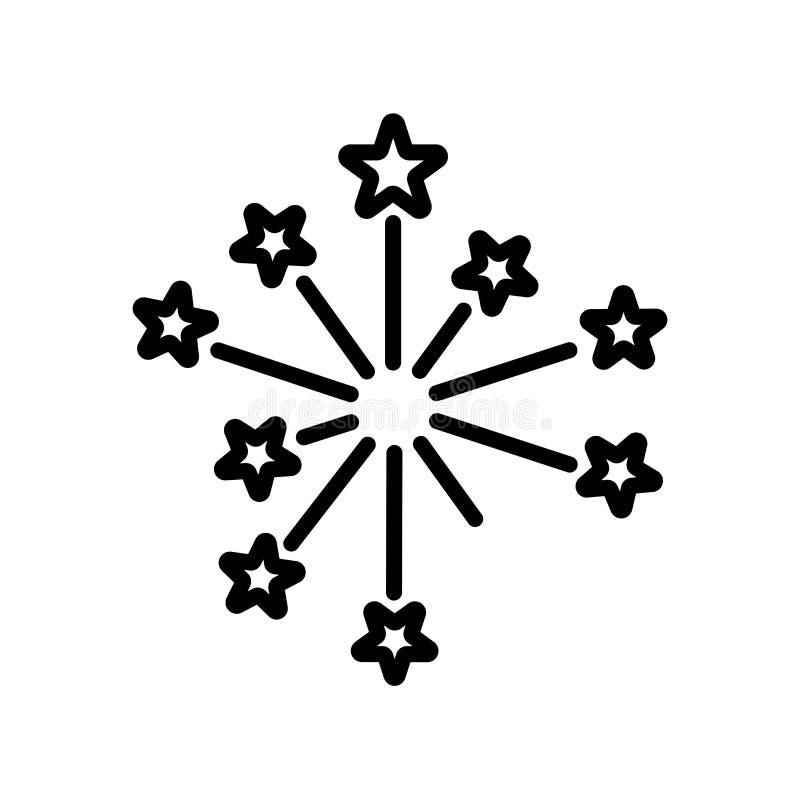 Tecken och symbol för fyrverkerisymbolsvektor som isoleras på den vita backgrouen stock illustrationer