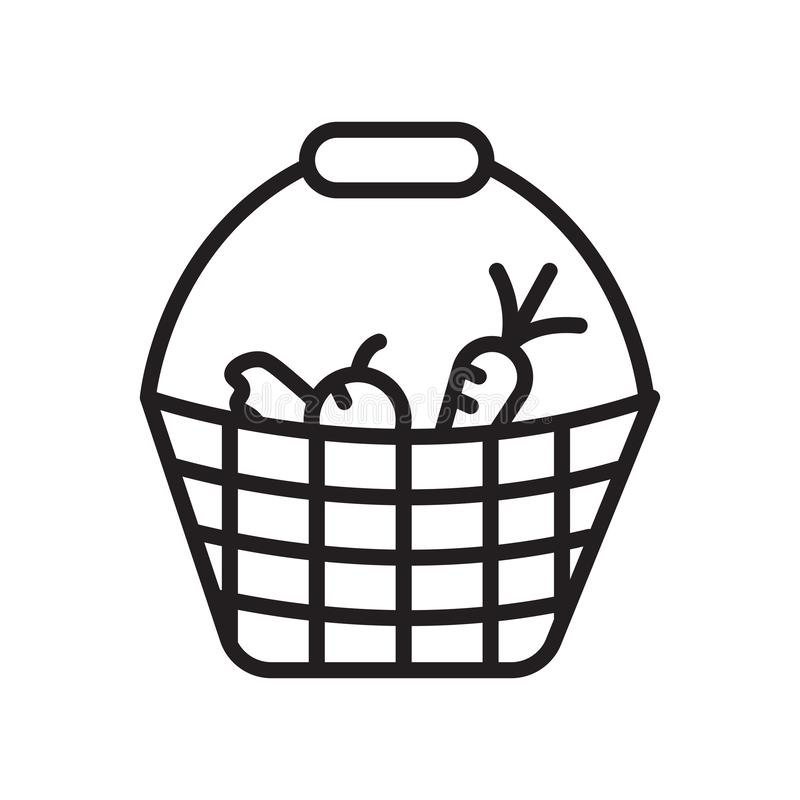 Tecken och symbol för grönsaksymbolsvektor som isoleras på vit bakgrund, grönsaklogobegrepp, översiktssymbol, linjärt tecken, stock illustrationer
