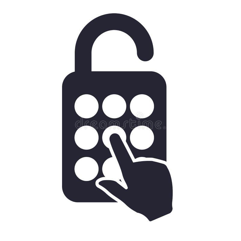 Tecken och symbol för hänglåssymbolsvektor som isoleras på vit bakgrund, hänglåslogobegrepp stock illustrationer