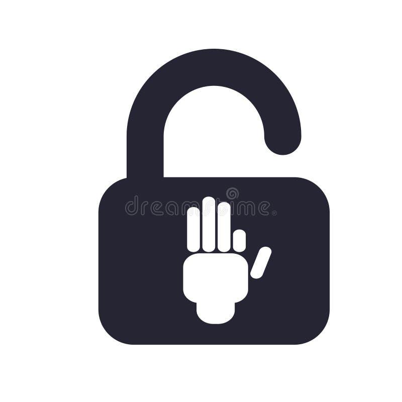 Tecken och symbol för hänglåssymbolsvektor som isoleras på vit bakgrund, hänglåslogobegrepp vektor illustrationer