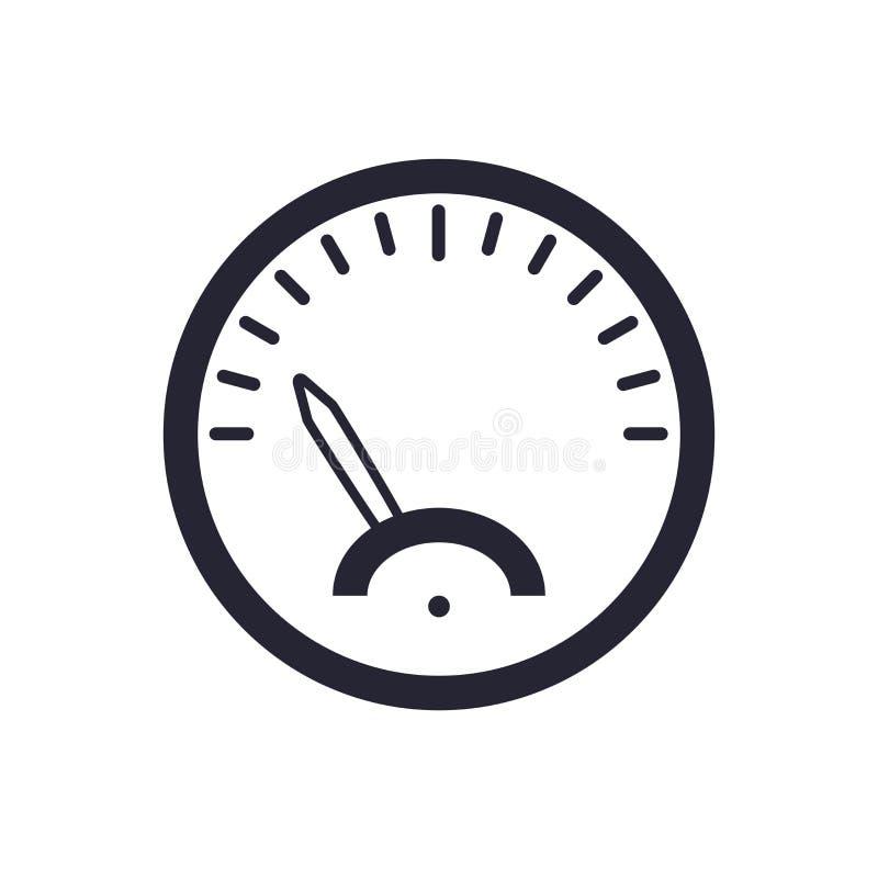 Tecken och symbol för hastighetsmätaresymbolsvektor som isoleras på vit bakgrund, hastighetsmätarelogobegrepp royaltyfri illustrationer