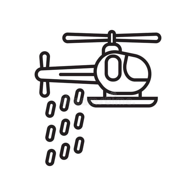 Tecken och symbol för helikoptersymbolsvektor som isoleras på den vita backgroen vektor illustrationer