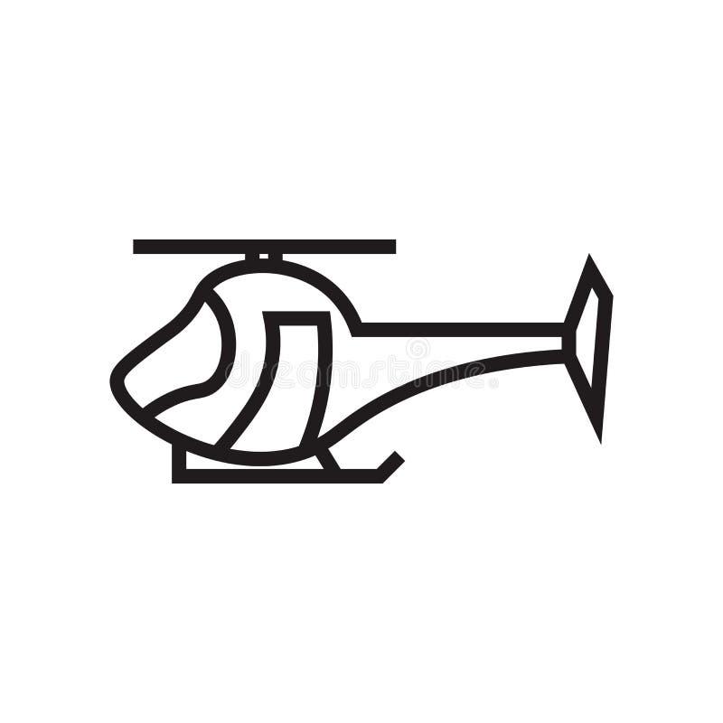 Tecken och symbol för helikoptersymbolsvektor som isoleras på vit bakgrund, helikopterlogobegrepp vektor illustrationer