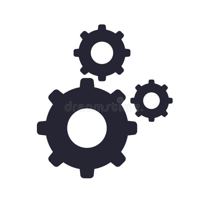 Tecken och symbol för inställningssymbolsvektor som isoleras på vit bakgrund, inställningslogobegrepp vektor illustrationer