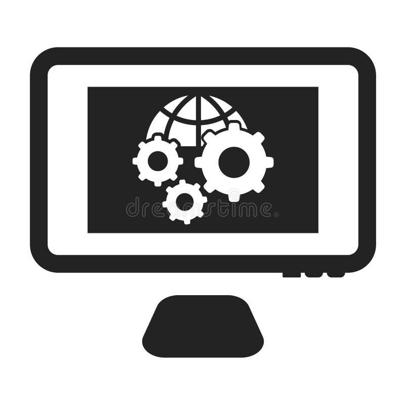 Tecken och symbol för inställningssymbolsvektor som isoleras på vit bakgrund, inställningslogobegrepp stock illustrationer