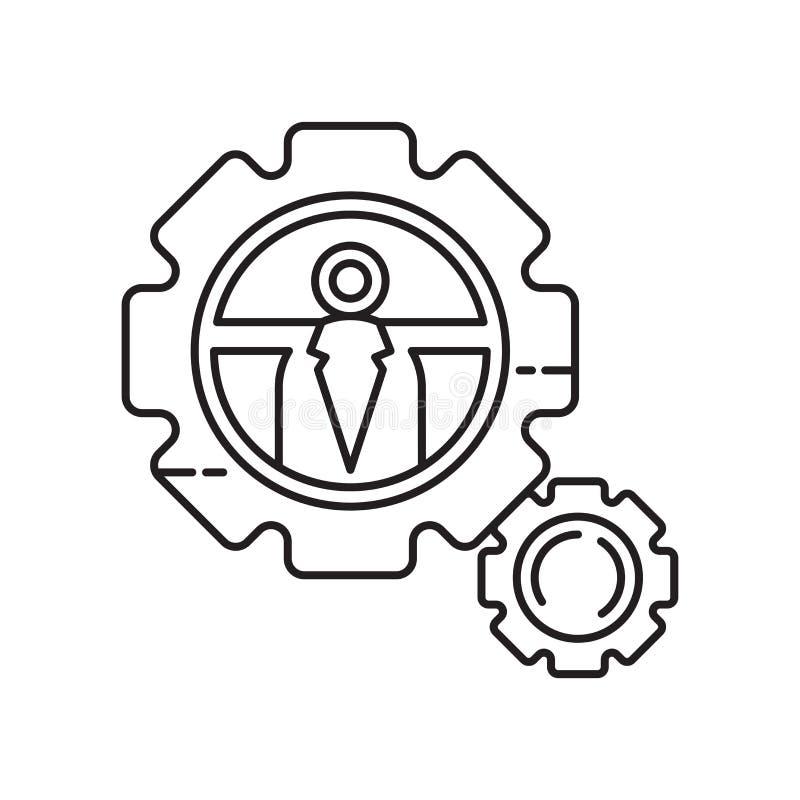 Tecken och symbol för inställningssymbolsvektor som isoleras på vit bakgrund, inställningslogobegrepp royaltyfri illustrationer