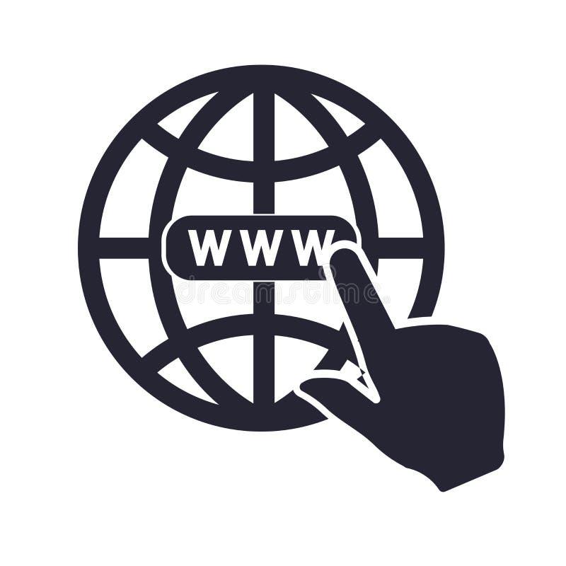 Tecken och symbol för internetsymbolsvektor som isoleras på vit bakgrund, internetlogobegrepp stock illustrationer