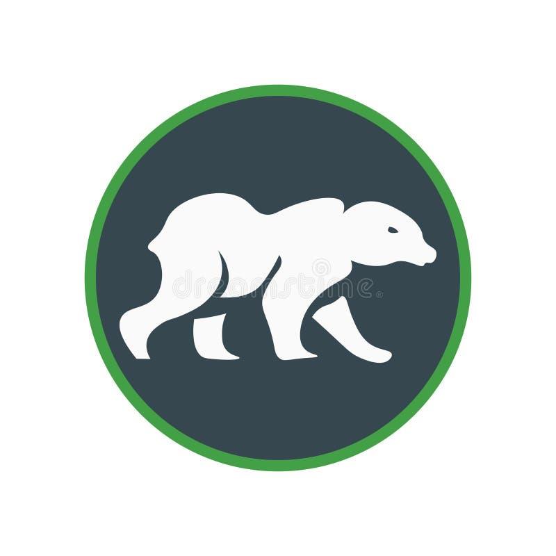 Tecken och symbol för isbjörnsymbolsvektor som isoleras på vit bakgrund, isbjörnlogobegrepp stock illustrationer