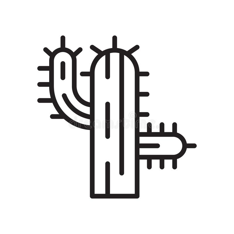 Tecken och symbol för kaktussymbolsvektor som isoleras på vit bakgrund vektor illustrationer